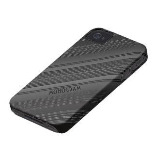 Dark Grays Diagonal Elegant Stripes-Customizable iPhone 4 Covers