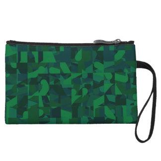 Dark Green Abstract Pattern. Wristlet Purse