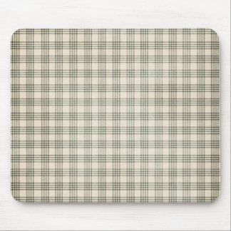 Dark Green and Beige Plaid Mouse Pad