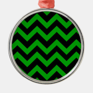 Dark Green And Black Chevrons Christmas Ornament