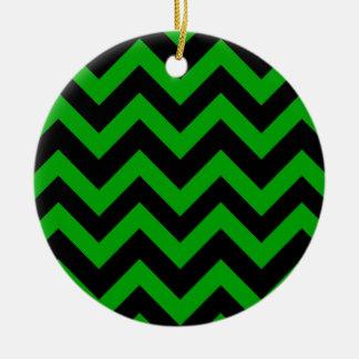 Dark Green And Black Chevrons Round Ceramic Decoration
