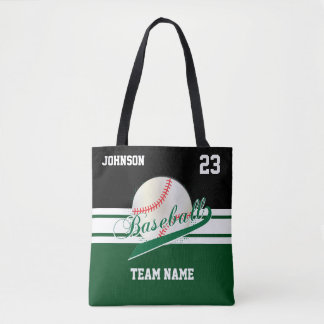 Dark Green and Black for a Baseball Team Tote Bag