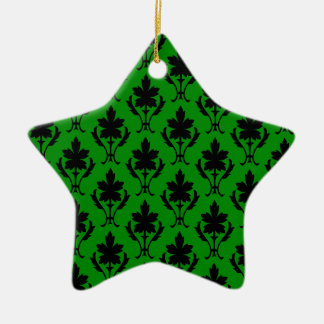 Dark Green And Black Ornate Wallpaper Pattern Christmas Ornament