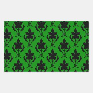 Dark Green And Black Ornate Wallpaper Pattern Rectangular Sticker