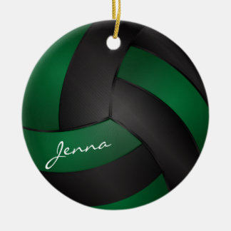 Dark Green and Black Personalize Volleyball 2 Christmas Ornament