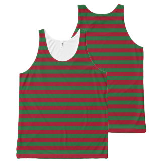 Dark Green and Burgundy Stripes All-Over Print Tank Top