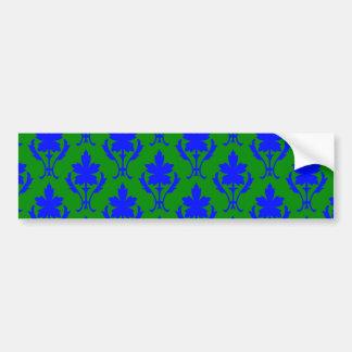 Dark Green And Dark Blue Ornate Wallpaper Pattern Bumper Sticker