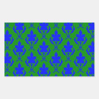 Dark Green And Dark Blue Ornate Wallpaper Pattern Rectangular Sticker