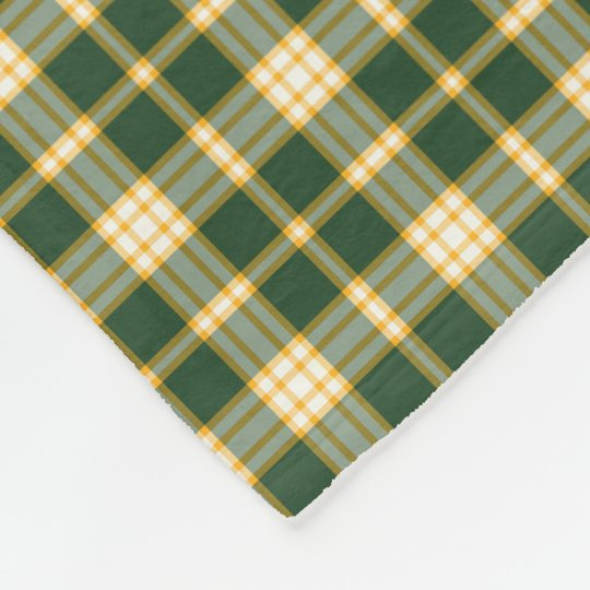 Dark Green and Gold Sporty Plaid Pattern Fleece