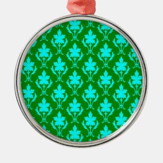 Dark Green And Light Blue Ornate Wallpaper Pattern Christmas Ornament