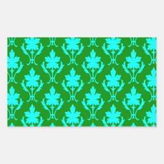 Dark Green And Light Blue Ornate Wallpaper Pattern Rectangular Sticker