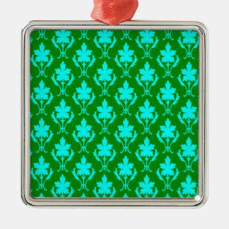 Dark Green And Light Blue Ornate Wallpaper Pattern Silver-Colored Square Decoration