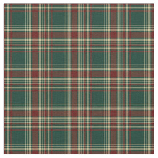 Dark Green and Maroon Christmas Plaid Pattern Fabric