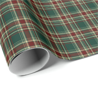 Dark Green and Maroon Christmas Plaid Pattern Wrapping Paper