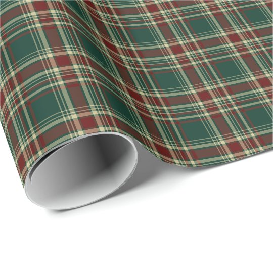 Dark Green and Maroon Christmas Plaid Pattern Wrapping