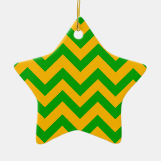 Dark Green And Orange Chevrons Christmas Ornament