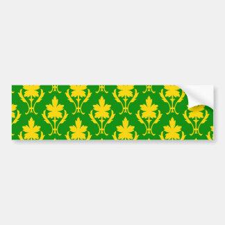 Dark Green And Orange Ornate Wallpaper Pattern Bumper Sticker