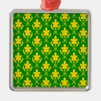 Dark Green And Orange Ornate Wallpaper Pattern Christmas Ornament