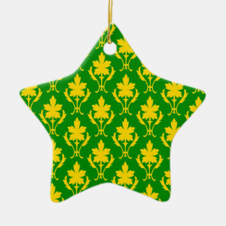Dark Green And Orange Ornate Wallpaper Pattern Christmas Ornament