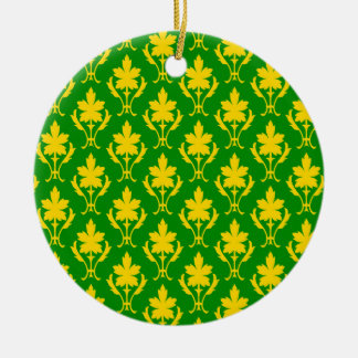 Dark Green And Orange Ornate Wallpaper Pattern Round Ceramic Decoration