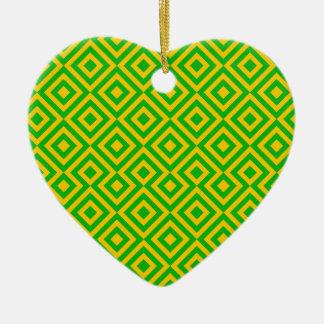 Dark Green And Orange Square 001 Pattern Ceramic Heart Decoration