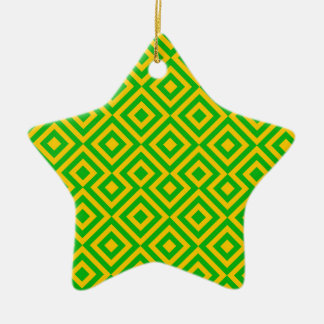 Dark Green And Orange Square 001 Pattern Christmas Ornament