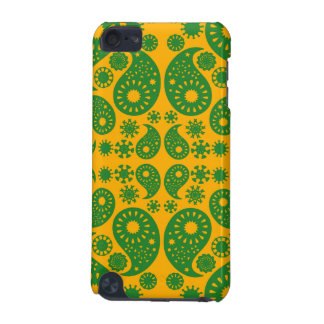 Dark Green and Orange - Yellow Paisley. iPod Touch (5th Generation) Case