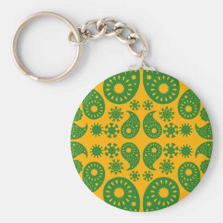 Dark Green and Orange - Yellow Paisley. Keychain