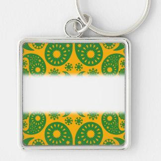 Dark Green and Orange - Yellow Paisley. Key Chain