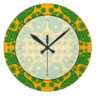 Dark Green and Orange - Yellow Paisley. Large Clock