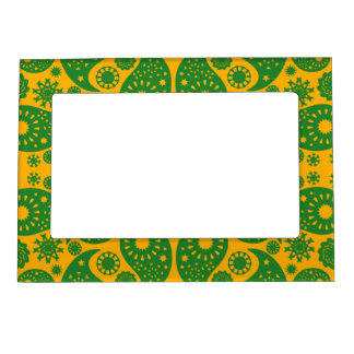 Dark Green and Orange - Yellow Paisley. Magnetic Frame