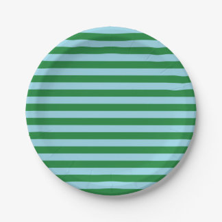 Dark Green and Pastel Blue Stripes 7 Inch Paper Plate