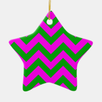 Dark Green And Pink Chevrons Christmas Ornament