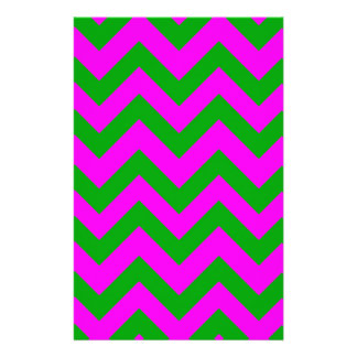 Dark Green And Pink Chevrons Customized Stationery