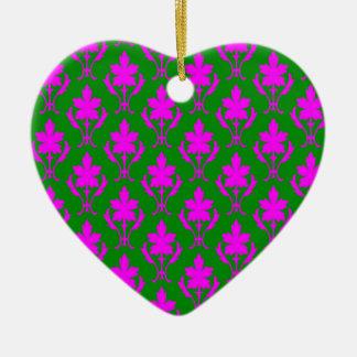 Dark Green And Pink Ornate Wallpaper Pattern Christmas Ornament