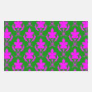 Dark Green And Pink Ornate Wallpaper Pattern Rectangular Sticker