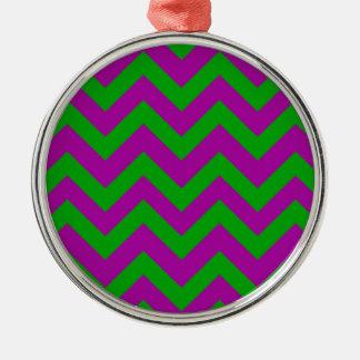 Dark Green And Purple Chevrons Christmas Ornament