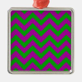 Dark Green And Purple Chevrons Silver-Colored Square Decoration