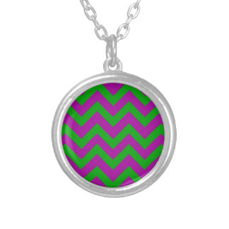 Dark Green And Purple Chevrons Silver Plated Necklace