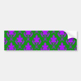 Dark Green And Purple Ornate Wallpaper Pattern Bumper Sticker