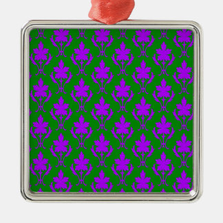Dark Green And Purple Ornate Wallpaper Pattern Christmas Ornament
