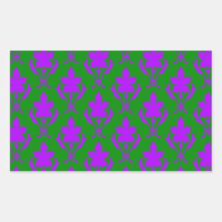 Dark Green And Purple Ornate Wallpaper Pattern Rectangular Sticker
