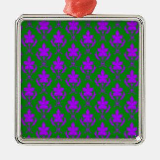 Dark Green And Purple Ornate Wallpaper Pattern Silver-Colored Square Decoration