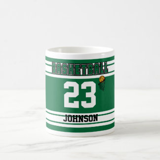 Dark Green and White Basketball Basic White Mug