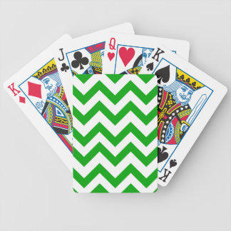 Dark Green And White Chevrons Bicycle Playing Cards