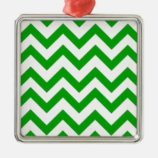 Dark Green And White Chevrons Christmas Ornament