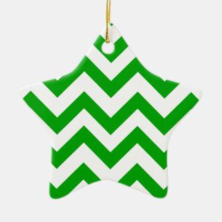Dark Green And White Chevrons Christmas Ornament