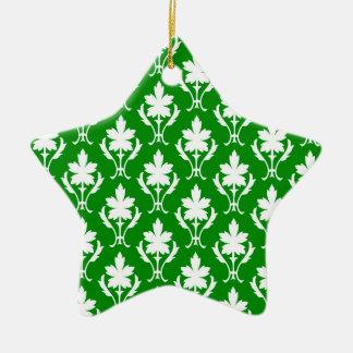 Dark Green And White Ornate Wallpaper Pattern Christmas Ornament