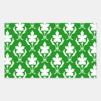 Dark Green And White Ornate Wallpaper Pattern Rectangular Sticker