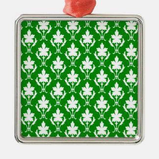 Dark Green And White Ornate Wallpaper Pattern Silver-Colored Square Decoration